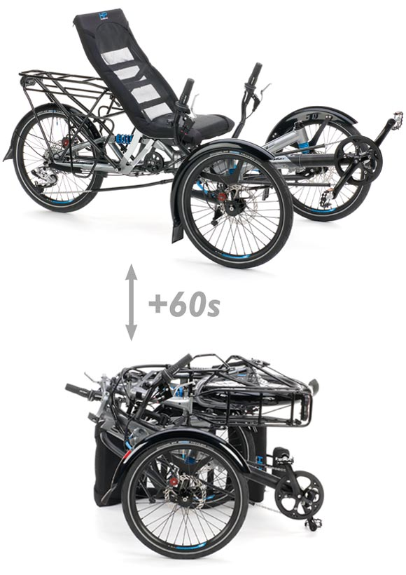 foldable three wheel recumbent trike scorpion plus 20